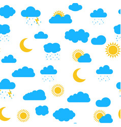 seamless pattern with clouds sun moon snow rai vector image