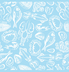 seamless pattern with various seafood vector image