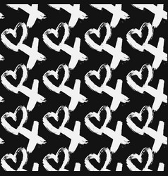 Seamless pattern xoxo with hearts on black vector