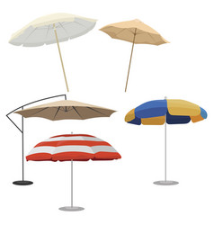 set beach umbrellas collection sun vector image