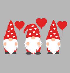 set cartoon valentine gnomes isolated vector image