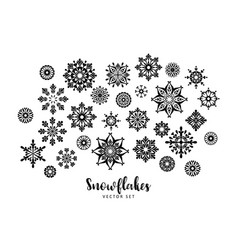 Set of snowflakes design element vector