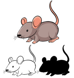 Set rat cartoon vector