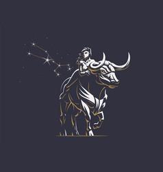 Sign of the zodiac taurus bull vector