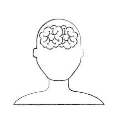 sketch draw brain faceless vector image
