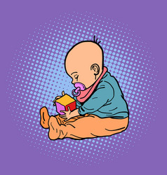 small child playing with a cube vector image