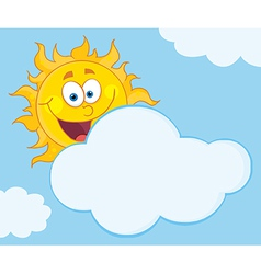 Sun Mascot Cartoon Character Hiding Behind Cloud vector image