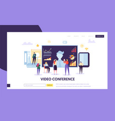 video conference landing page template business vector image
