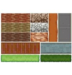 Wall tiles pattern and bush vector
