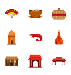 Welcome vietnam icon set flat style vector