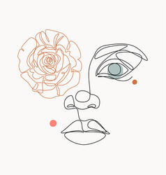 woman portrait with rose flower for fashion design vector image
