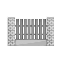 Wooden fence with brick pillars icon monochrome vector