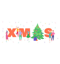 xmas party card or invitation poster people vector image