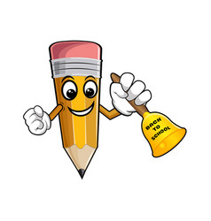 yellow cartoon pencil with bell and text back to vector image