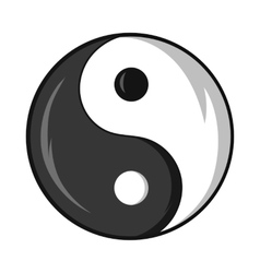 Yin and yang symbol icon cartoon style vector image