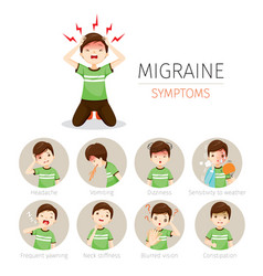 Young man with migraine symptoms icons set vector