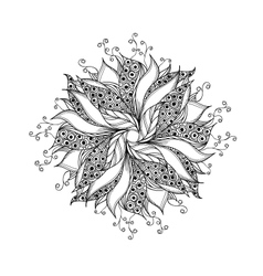 Fantasy flower black and white tattoo pattern vector image vector image