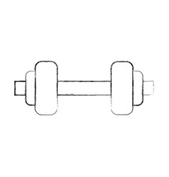 Sketch draw metal barbel cartoon vector