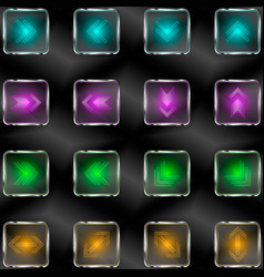 squares with neon lights and arrow symbols vector image vector image