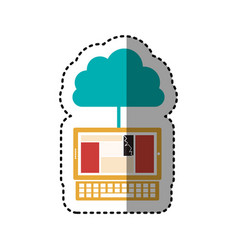 Sticker cloud in cumulus shape connected to laptop vector