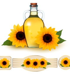 Bottle of sunflower oil with flower and labels vector image vector image