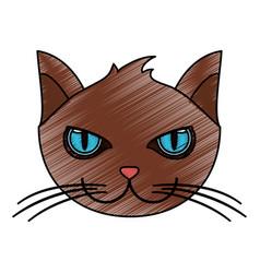 Color pencil cartoon front view face cat animal vector
