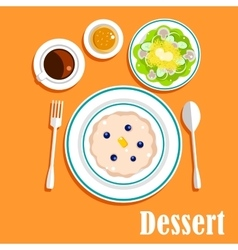 Desser cuisine with cake salad and coffee vector image