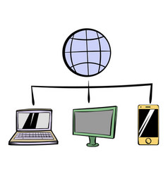 globe with computers and mobile phone icon cartoon vector image