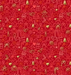 Gold Christmas outline icon seamless pattern vector image