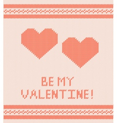 Knitted background with hearts vector image vector image