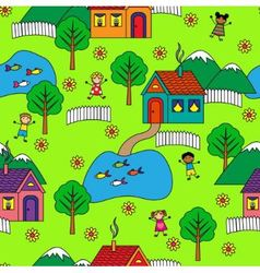 seamless pattern with houses trees and people vector image vector image