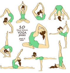 Set of isolated yoga poses vector image vector image