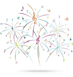 Colorful music notes popping out vector