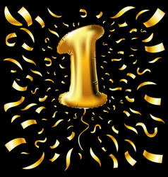 Golden number one 1 first metallic balloon party vector