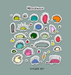 hedgehogs sticker set for your design vector image
