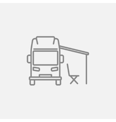 Motorhome with tent line icon vector image