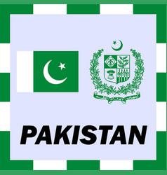official ensigns flag and coat of arm of pakistan vector image