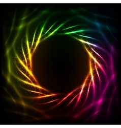 Shining blurred neon spiral abstract frame vector image