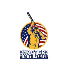 American hunter aiming shotgun rifle flag vector image vector image