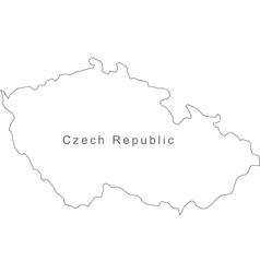 Black White Czech Republic Outline Map vector image
