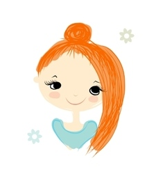 Cute girl smiling sketch for your design vector image vector image