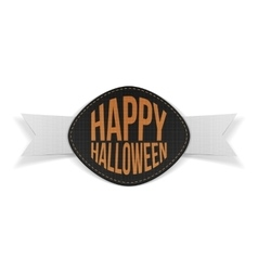 Happy Halloween realistic Emblem with Ribbon vector image