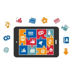 Multimedia icons on tablet screen vector image vector image