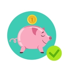 Piggy bank and coin as symbol of personal savings vector