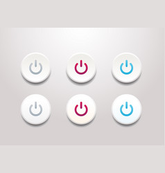 power button icon set - simple flat design vector image