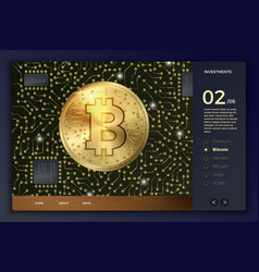 3d bitcoin coin and circuits site template vector