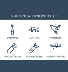 6 attack icons vector