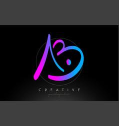 Ab artistic brush letter logo handwritten vector