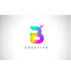 b colorful logo letter design creative rainbow vector image