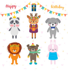 birthday greeting card with funny cartoon animals vector image